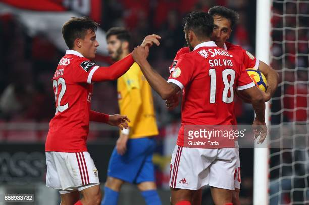 Benfica forward Jonas from Brazil celebrates with teammates after scoring a goal after scoring a goal during the Primeira Liga match between SL...