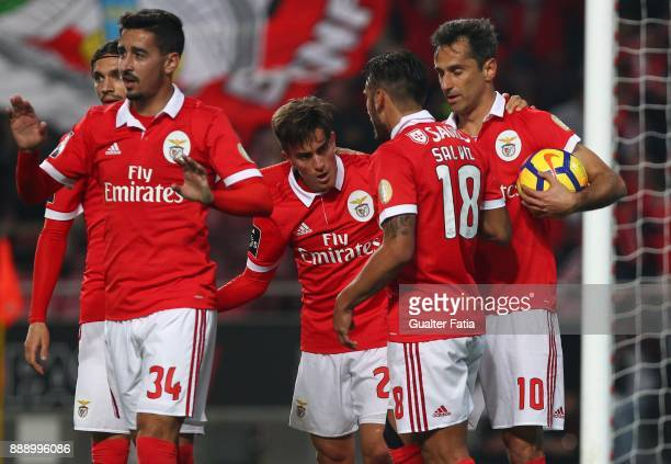 Benfica forward Jonas from Brazil celebrates with teammates after scoring a goal during the Primeira Liga match between SL Benfica and GD Estoril...
