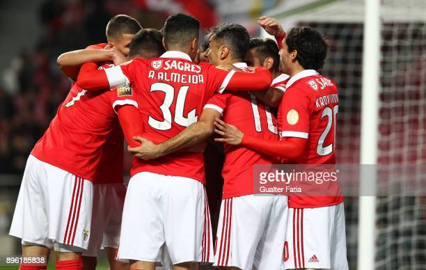 Benfica forward Jonas from Brazil celebrates with teammates after scoring a goal during the Portuguese League Cup match between SL Benfica and...