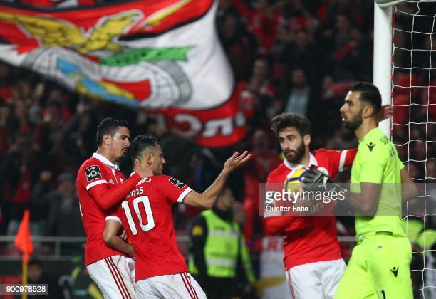 Benfica forward Jonas from Brazil celebrates with teammates after scoring a goal during the Primeira Liga match between SL Benfica and Sporting CP at...