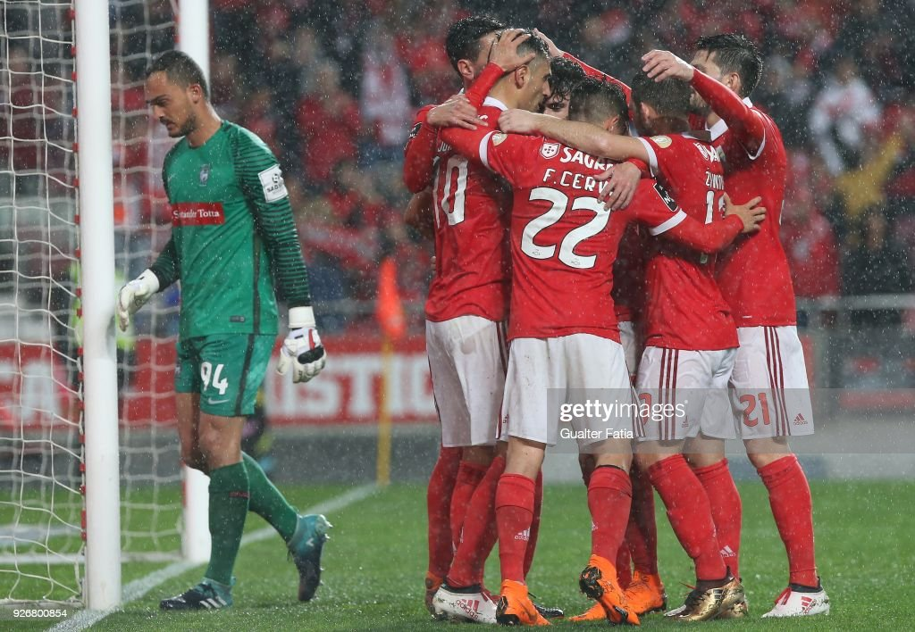 SL Benfica forward Jonas from Brazil celebrates with teammates after scoring a goal during the Primeira Liga match between SL Benfica and CS Maritimo at Estadio da Luz on March 3, 2018 in Lisbon, Portugal.
