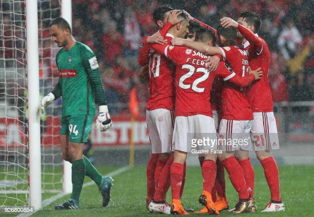 Benfica forward Jonas from Brazil celebrates with teammates after scoring a goal during the Primeira Liga match between SL Benfica and CS Maritimo at...