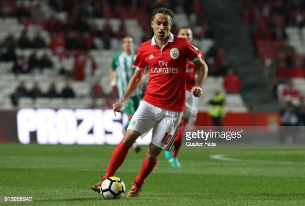 Benfica forward Jonas from Brazil in action during the Primeira Liga match between SL Benfica and Rio Ave FC at Estadio da Luz on February 3 2018 in...