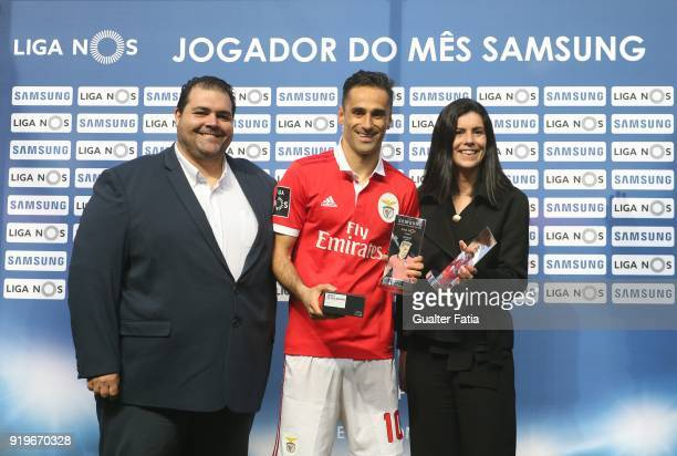 Benfica forward Jonas from Brazil receives the awards for Best Player and Best Forward of the Portuguese League in the month of January before the...