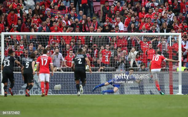 Benfica forward Jonas from Brazil scores goal from the penalty spot during the Primeira Liga match between SL Benfica and Vitoria Guimaraes at...