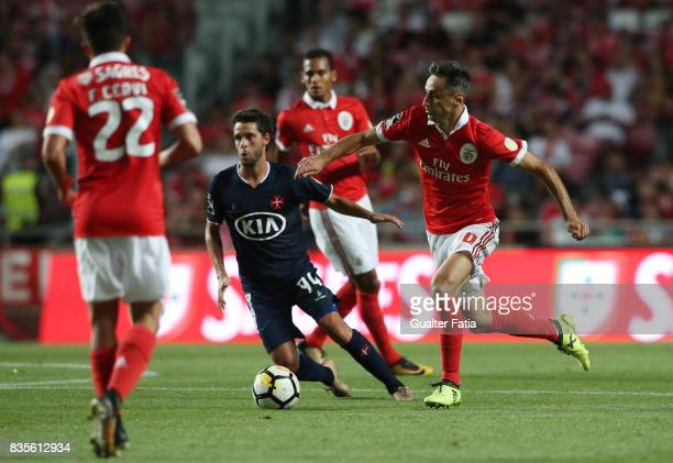 Benfica forward Jonas from Brazil with CF Os Belenenses midfielder Filipe Chaby from Portugal in action during the Primeira Liga match between SL...