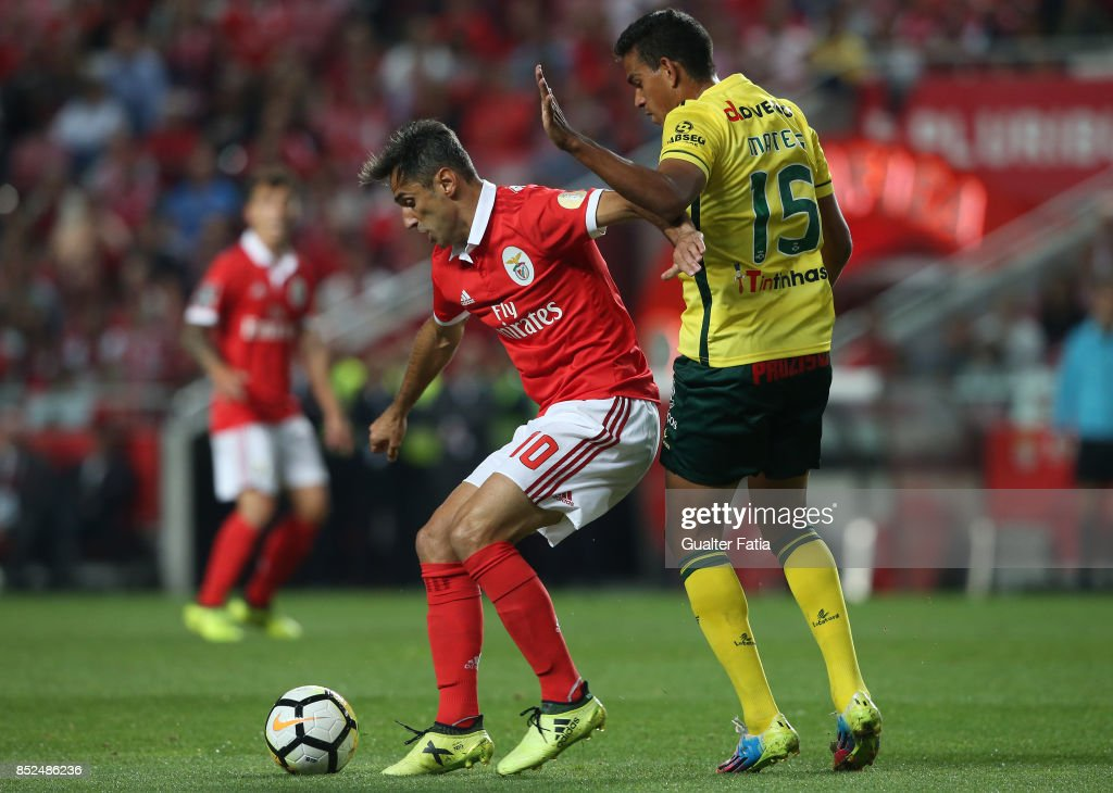 SL Benfica forward Jonas from Brazil with FC Pacos de Ferreira midfielder Mateus Silva from Brazil in action during the Primeira Liga match between SL Benfica and FC Pacos de Ferreira at Estadio da Luz on September 23, 2017 in Lisbon, Portugal.