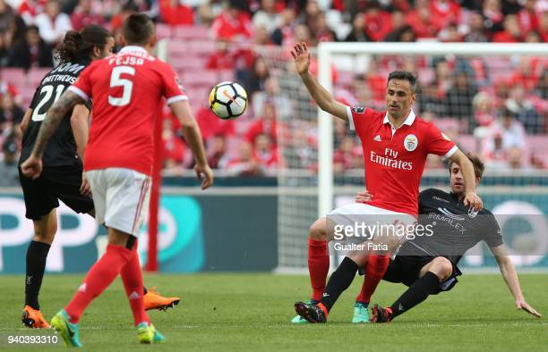 Benfica forward Jonas from Brazil with Vitoria Guimaraes midfielder Rafael Miranda from Brazil in action during the Primeira Liga match between SL...