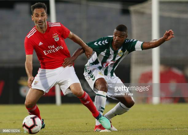 Benfica forward Jonas from Brazil with Vitoria Setubal defender Vasco Fernandes from Portugal in action during the PreSeason Friendly match between...