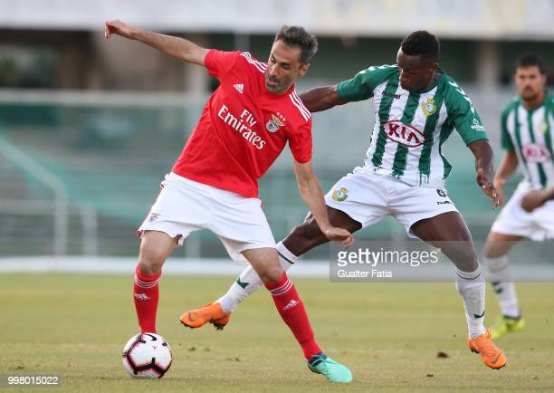 Benfica forward Jonas from Brazil with Vitoria Setubal midfielder Jose Semedo from Portugal in action during the PreSeason Friendly match between SL...