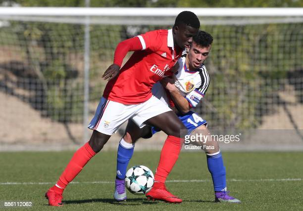 Benfica forward Jose Gomes from Portugal with Basel midfielder Alessandro Stabile from Italy in action during the UEFA Youth League match between SL...