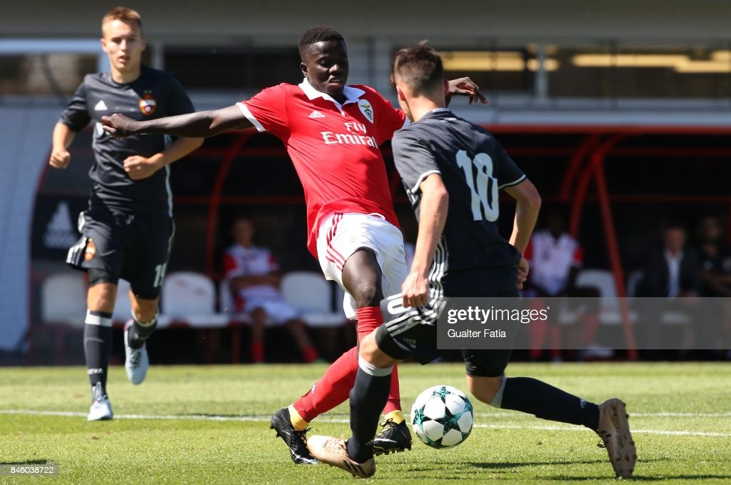 SL Benfica forward Jose Gomes with CSKA Moskva midfielder Ivan Oleynikov in action during the UEFA Youth League match between SL Benfica and CSKA Moskva at Caixa Futebol Campus on September 12, 2017 in Seixal, Portugal.