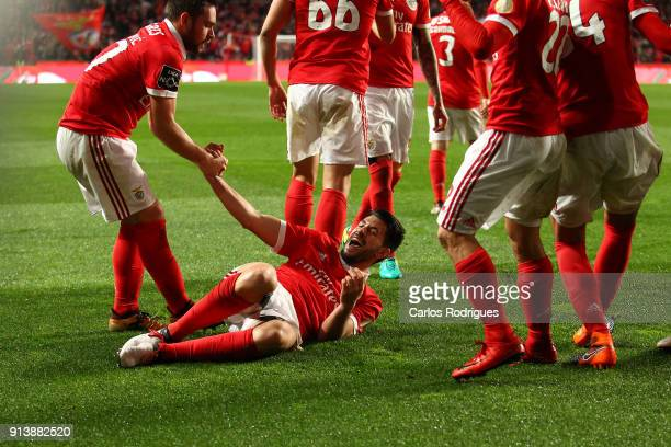 Benfica forward Pizzi from Portugal celebrates scoring Benfica second goal with his team mates during the match between SL Benfica and Rio Ave FC for...