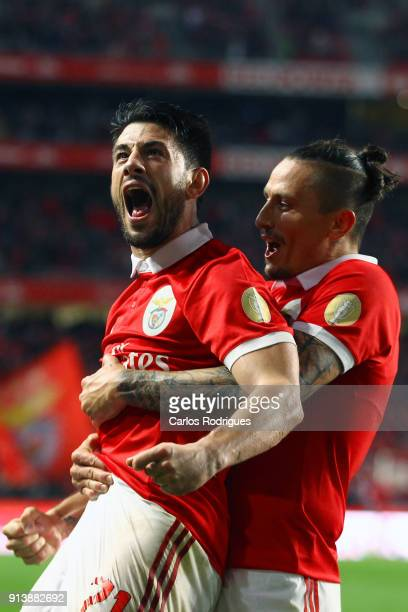 Benfica forward Pizzi from Portugal celebrates scoring Benfica second goal with SL Benfica midfielder Ljubomir Fejsa from Serbia during the match...
