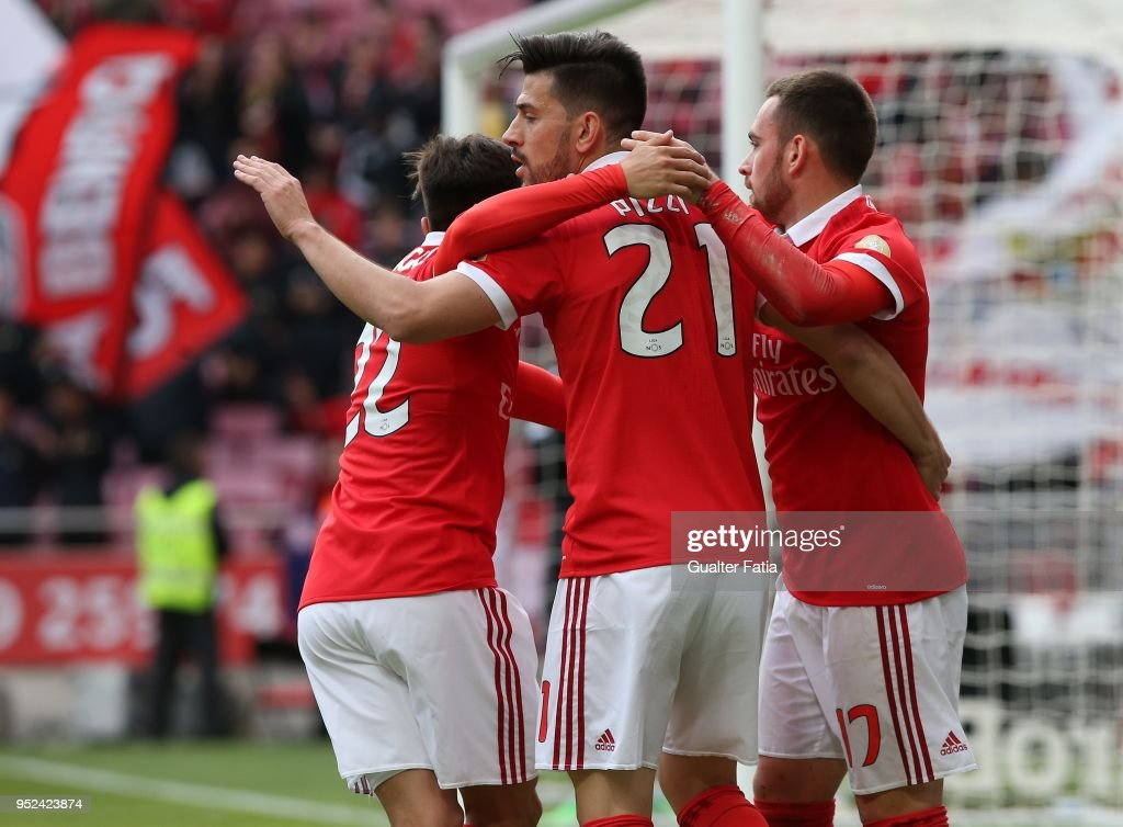 SL Benfica forward Pizzi from Portugal celebrates with teammates after scoring a goal during the Primeira Liga match between SL Benfica and CD Tondela at Estadio da Luz on April 28, 2018 in Lisbon, Portugal.