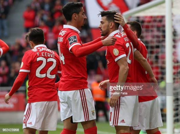 Benfica forward Pizzi from Portugal celebrates with teammates after scoring a goal during the Primeira Liga match between SL Benfica and CD Tondela...