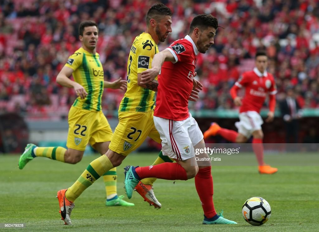 SL Benfica forward Pizzi from Portugal with CD Tondela midfielder Bruno Monteiro from Portugal in action during the Primeira Liga match between SL Benfica and CD Tondela at Estadio da Luz on April 28, 2018 in Lisbon, Portugal.