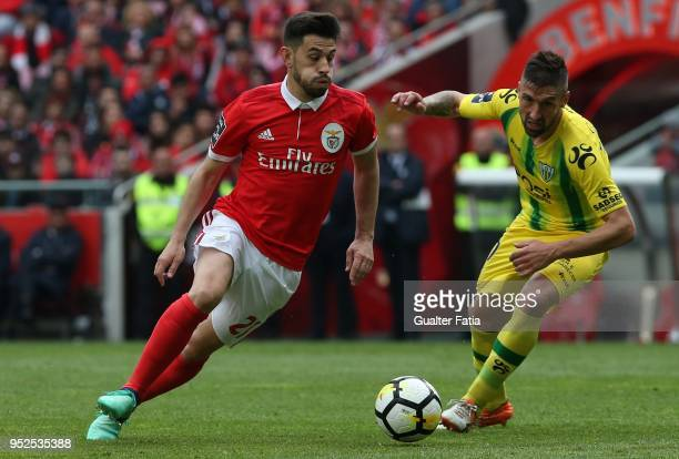 Benfica forward Pizzi from Portugal with CD Tondela midfielder Bruno Monteiro from Portugal in action during the Primeira Liga match between SL...
