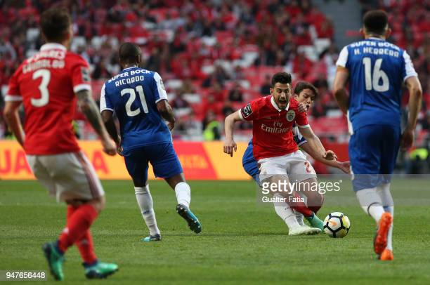 Benfica forward Pizzi from Portugal with FC Porto midfielder Oliver Torres from Spain in action during the Primeira Liga match between SL Benfica and...