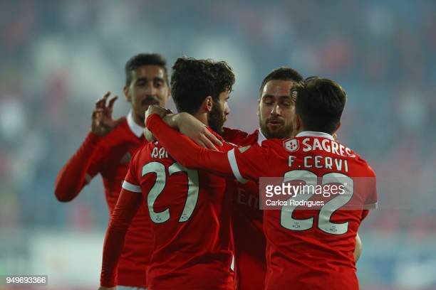 Benfica forward Rafa Silva from Portugal celebrates scoring Benfica goal with his team mates during the match between GD Estoril Praia and SL Benfica...