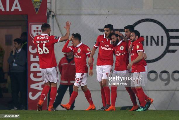 Benfica forward Rafa Silva from Portugal celebrates with teammates after scoring a goal after scoring a goal during the Primeira Liga match between...
