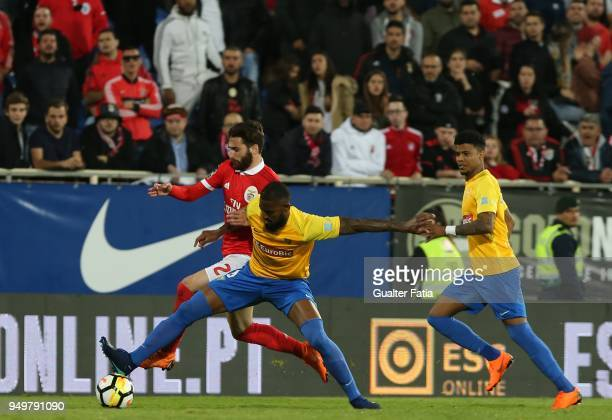 Benfica forward Rafa Silva from Portugal with GD Estoril Praia defender Dankler from Brazil in action during the Primeira Liga match between GD...