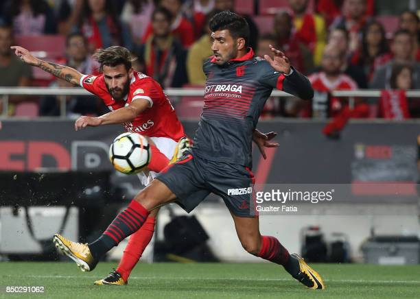 Benfica forward Rafa Silva from Portugal with SC Braga defender Ricardo Esgaio from Portugal in action during the Portuguese League Cup match between...