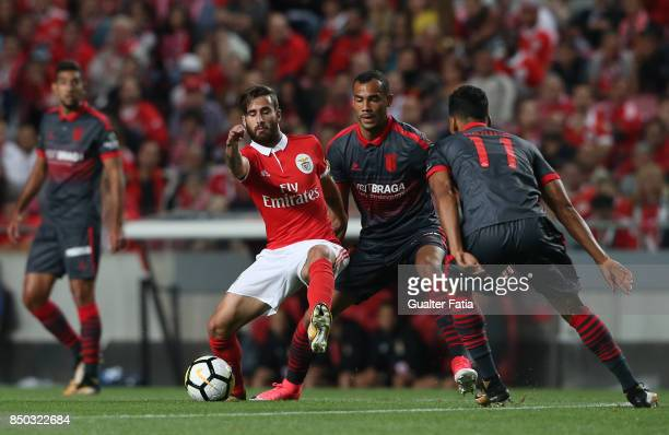 Benfica forward Rafa Silva from Portugal with SC Braga midfielder Fransergio from Brazil in action during the Portuguese League Cup match between SL...