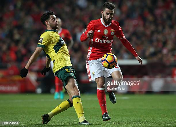 Benfica forward Rafa Silva with Pacos Ferreira's forward Ivo Rodrigues from Portugal in action during the Primeira Liga match between SL Benfica and...