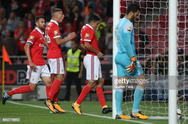 Benfica forward Raul Jimenez from Mexico celebrates after scoring a goal during the Portuguese League Cup match between SL Benfica and SC Braga at...