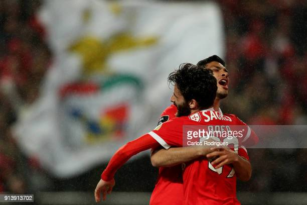 Benfica forward Raul Jimenez from Mexico celebrates scoring Benfica fifth goal with SL Benfica forward Rafa Silva from Portugal during the match...
