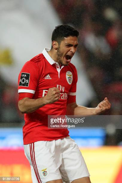 Benfica forward Raul Jimenez from Mexico celebrates scoring Benfica fifth goal during the match between SL Benfica and Rio Ave FC for the Portuguese...