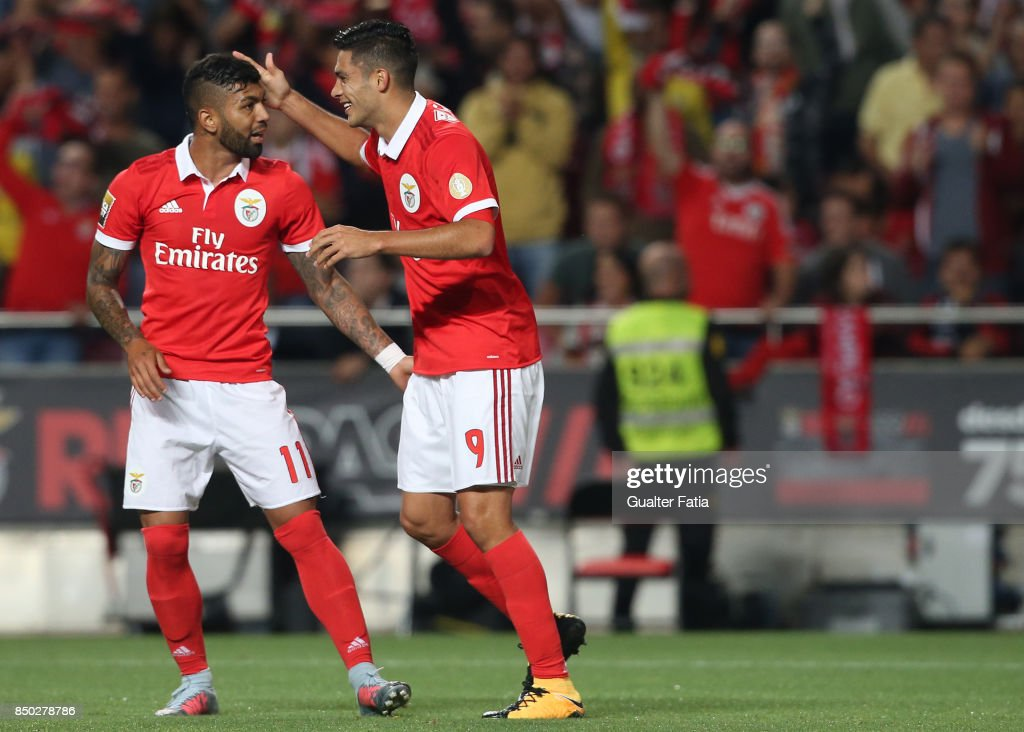 SL Benfica forward Raul Jimenez from Mexico celebrates with teammate SL Benfica forward Gabriel Barbosa from Brazil after scoring a goal during the Portuguese League Cup match between SL Benfica and SC Braga at Estadio da Luz on September 20, 2017 in Lisbon, Portugal.