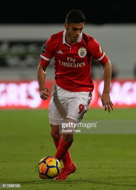 Benfica forward Raul Jimenez from Mexico in action during the Primeira Liga match between CF Os Belenenses and SL Benfica at Estadio do Restelo on...
