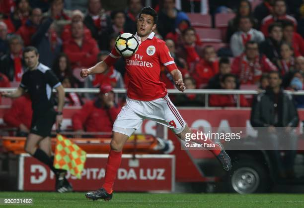 Benfica forward Raul Jimenez from Mexico in action during the Primeira Liga match between SL Benfica and CD Aves at Estadio da Luz on March 10 2018...