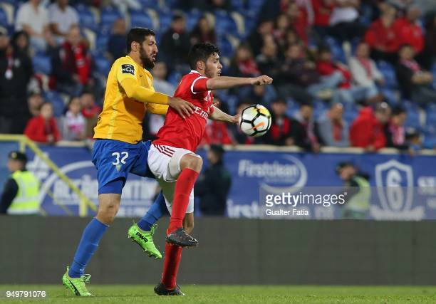 Benfica forward Raul Jimenez from Mexico with GD Estoril Praia defender Rafik Halliche from Algeria in action during the Primeira Liga match between...