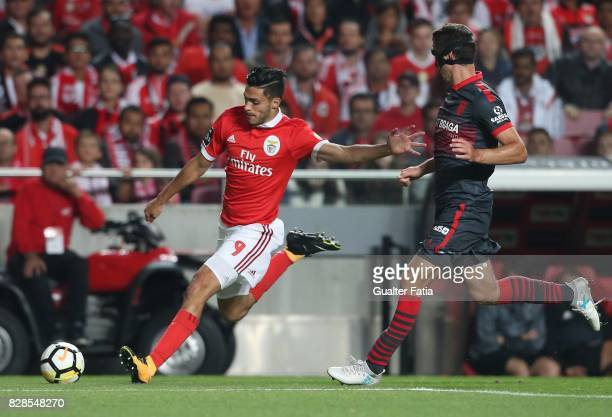 Benfica forward Raul Jimenez from Mexico with SC Braga defender Lazar Rosic from Serbia in action during the Primeira Liga match between SL Benfica...