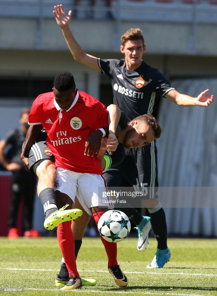 SL Benfica forward Umaro Embalo with CSKA Moskva defender Khetag Khosonov in action during the UEFA Youth League match between SL Benfica and CSKA Moskva at Caixa Futebol Campus on September 12, 2017 in Seixal, Portugal.