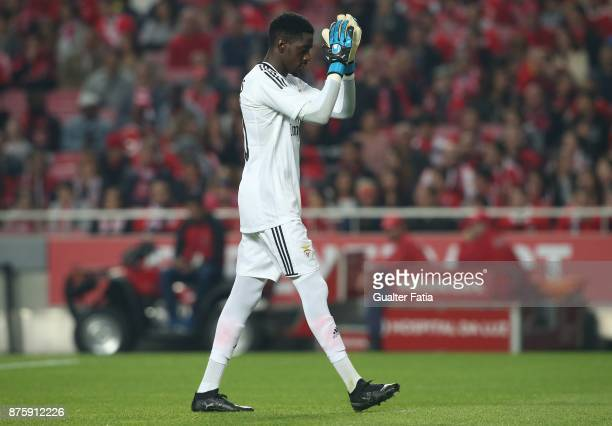 Benfica goalkeeper Bruno Varela from Portugal before the start of the Portuguese Cup match between SL Benfica and Vitoria Setubal at Estadio da Luz...