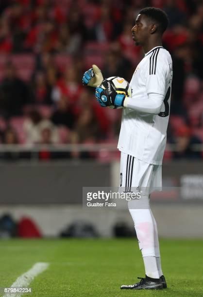 Benfica goalkeeper Bruno Varela from Portugal in action during the Primeira Liga match between SL Benfica and Vitoria Setubal at Estadio da Luz on...