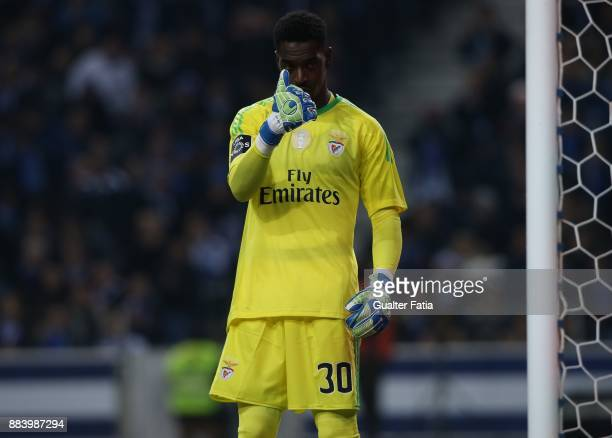 Benfica goalkeeper Bruno Varela from Portugal in action during the Primeira Liga match between FC Porto and SL Benfica at Estadio do Dragao on...