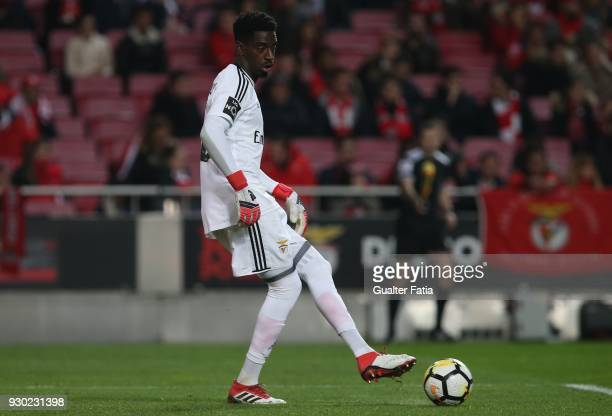 Benfica goalkeeper Bruno Varela from Portugal in action during the Primeira Liga match between SL Benfica and CD Aves at Estadio da Luz on March 10...