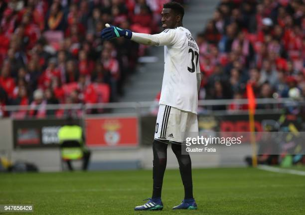 Benfica goalkeeper Bruno Varela from Portugal in action during the Primeira Liga match between SL Benfica and FC Porto at Estadio da Luz on April 15...