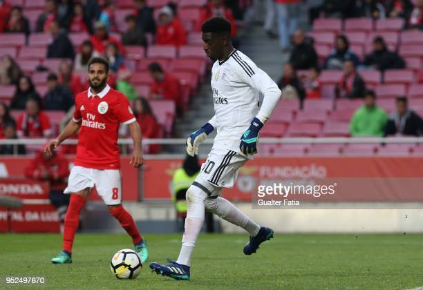 Benfica goalkeeper Bruno Varela from Portugal in action during the Primeira Liga match between SL Benfica and CD Tondela at Estadio da Luz on April...