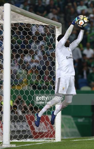 Benfica goalkeeper Bruno Varela from Portugal in action during the Primeira Liga match between Sporting CP and SL Benfica at Estadio Jose Alvalade on...
