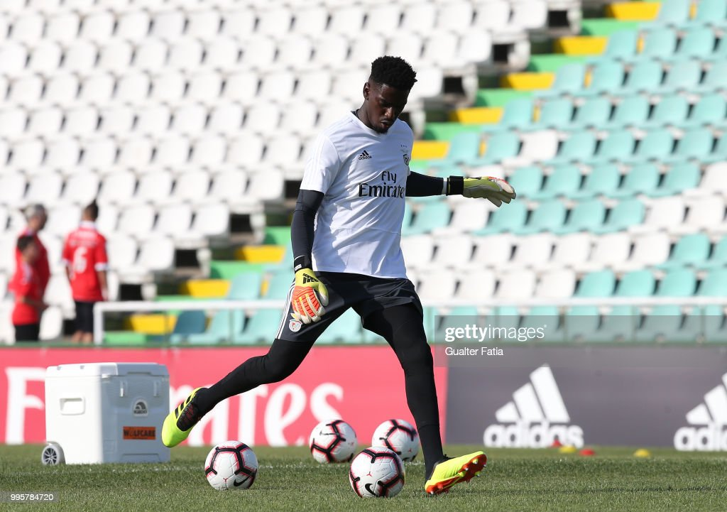 SL Benfica goalkeeper Bruno Varela from Portugal in action during warm up before the start of the Pre-Season Friendly match between SL Benfica and FK Napredak at Estadio do Bonfim on July 10, 2018 in Setubal, Portugal.