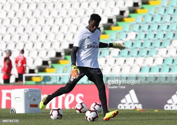 Benfica goalkeeper Bruno Varela from Portugal in action during warm up before the start of the PreSeason Friendly match between SL Benfica and FK...