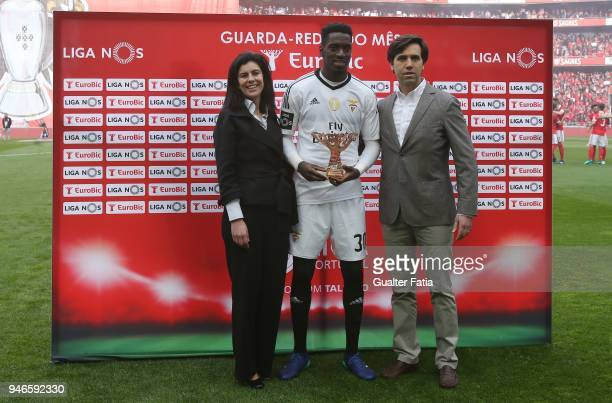 Benfica goalkeeper Bruno Varela from Portugal receives the award for best goalkeeper in the month of March in the Portuguese Primeira Liga before the...