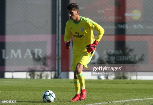 Benfica goalkeeper Daniel Azevedo from Portugal in action during the UEFA Youth League match between SL Benfica and FC Basel at Caixa Futebol Campus...