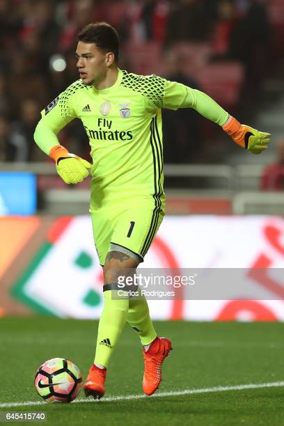 Benfica goalkeeper Ederson Moares from Brasil during the match between SL Benfica and GD Chaves for the Portuguese Primeira Liga at Estadio da Luz on...